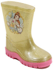 George Girls Kids Official Disney Princess Belle Glitter Wellies Rain Boots