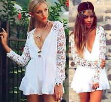 White Sheer Floral Lace Long Sleeve Cross Wrap V Neck Ruffle Short Romper NWT