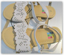 Healthtex Girls' Toddler SIZE 10 White Faux Leather easy close Sandals
