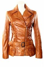 FEMININE Ladies TAN Vintage WASHED Biker Style Designer Real Leather Jacket