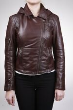 Ladies Women's BRANDO Brown Fashion Quilted Biker Style Leather Jacket With Hood