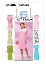 B4386 Butterick Sewing Pattern FAST & EASY Dress 6 Variations Misses 8-22