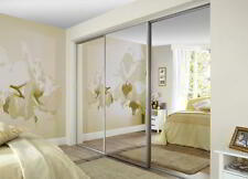 AMAZING MADE TO MEASURE FITTED SLIDING MIRROR WARDROBE DOORS & TRACK SET