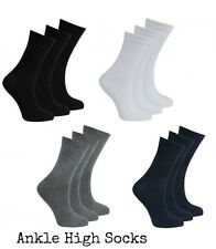 12 Pairs Back To School boys girl Unisex Kids Plain Cotton Mix Ankle Socks Size