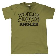 Worlds Okayest Angler Mens Funny Fishing T Shirt - Gift for Dad Fathers Day