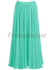 Turquoise | Chiffon 2 Layer Reversible Long Skirt Full Circle S~3XL | 25 Color
