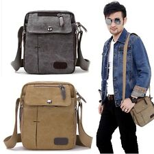 Mens Vintage Canvas Leather Satchel School Military Shoulder Bag Messenger Bag D