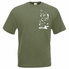 CARP CLOTHING, **** SALE ***** OLIVE GREEN COLOUR, LEAPING CARP (SIZE M)