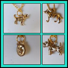 Dog charm necklaces gold plated chain Chihuahua Norwich Terrier Husky Kelpie 16""