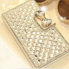 Luxury Bling Bowknot Crystal Diamond Wallet Flip Case Cover For iPhone & Samsung
