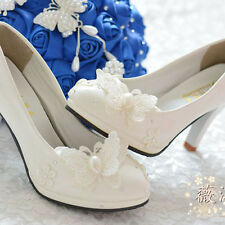 Pearl White Lace Butterfly Wedding Bridal Shoes High Heels Flat Party Evening