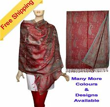 """Hand Woven Pashmina Silk Blended Wrap Stole Shawl Scarf 78"""" Large X 28"""" Wide"""