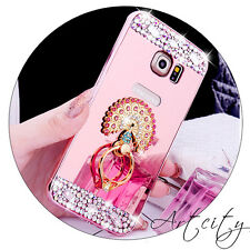 Bling Diamond Ring Holder Stand Mirror Back Cover Case For Samsung/iPhone/LG