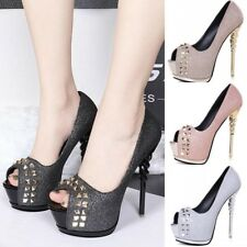 Womens Platforms Open Toe Slip on Stiletto Shoes High Heels Casual Party Sandals