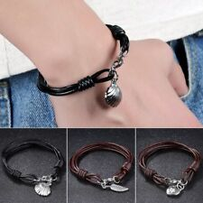 Men Fashion Black/Brown Leather Multilayer Shell Feather Heart Bracelet Jewelry