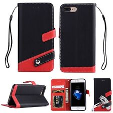 Luxury PU Leather Flip Stand Wallet Card Slots Case Cover For iPhone Samsung R