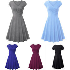 Women A-line Shaped Pleated V-Neck Cap Sleeve Elegant Party Cocktail Dress Cheap