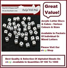 200 WHITE CUBE - Acrylic Single Letter A-Z White Cube Alphabet Beads 6mm