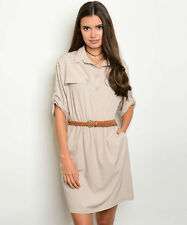 Spring Summer Khaki Belted Trench Safari Casual Work Party Shirt Dress S M L