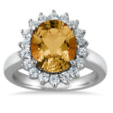 4 Carat Citrine and Diamond Ring in 14K White Gold
