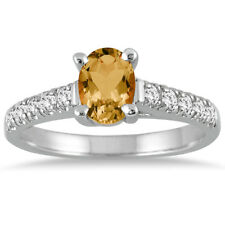 1 Carat Oval Citrine and Diamond Ring in 14K White Gold