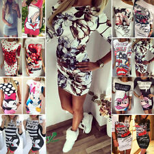 Fashion Womens Letter Print Tunic Dress Party Club Blouse Tops Bodycon Playsuits
