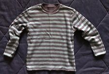 Mini Boden reversible THERMAL waffle knit STRIPED solid BLUE l/s shirt BOYS 9 10