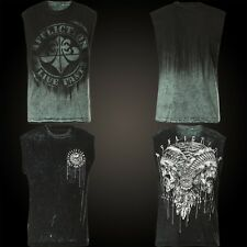 Affliction T-Shirt Tarnished Divio Reversible Muscle Tee Black/Green