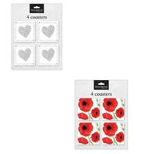 Set of 4 Square poppy / heart Drinks Coasters with Holder Coffee Table Home