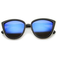 sunglassLA Metal Outer Frame Color Mirror Lens Oversized Cat Eye Sunglasses