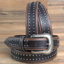 "32""- 46"" X 1.5"" WIDE ROPER FLORAL EMBOSSED SILVER BUCKLE MENS LEATHER BELT BROWN"