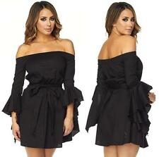 Black Long Ruffle Flare Sleeve Off The Shoulder Tie Waist Mini Dress Sexy NWT