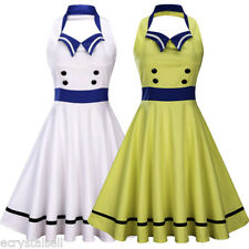 Vintage Sailor Nautical Rockabilly 50s 60s Pinup Party Prom Swing Halter Dress