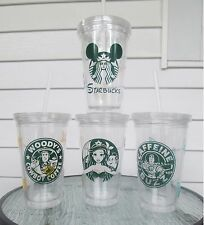 Custom Starbucks Style Double-Wall Plastic Disney Tumblers with Straws,16 oz