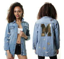 New WOMENS Faded Slim Long Line Ripped Oversized Denim Jeans Jacket Sequin 10 12