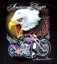 American Flag Chopper Motorcycle & Eagle Black Short Sleeve T-Shirt Size XL
