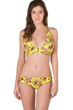 BETSEY JOHNSON TRUE LOVE S Two Piece Floral Pink Lime Halter Bikini Swimsuit