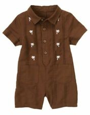 Nwt Gymboree Little Surfer Dude Brown Palm Tree Romper Size 3-6 Months