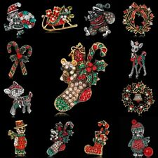 Retro Cute Crystal Rhinestone Deer Boot Snowman Brooch Pin Christmas Jewelry New