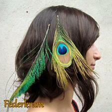 Peacock Feather Hair Extension Clip, natural jewelry handmade green