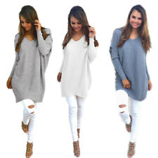 Pullover Thin Sweater Ladies Loose Tops New Womens V-neck Long Sleeve