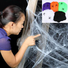 Spider Web Halloween Props Stretchy Cobweb Party Bar Decoration With 2 Spiders