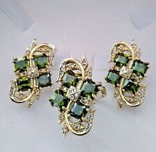 STERLING 925 SILVER HANDMADE JEWELRY / PERIDOT EARRINGS & RING SET