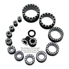 """Pair of Steel Black Threaded Tunnel Plugs w/Clear Gems-10G to 1"""""""