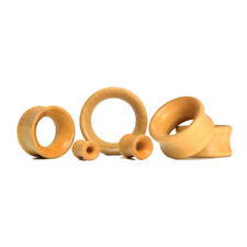 Pair of Double Flare Lotus Wood Organic Ear Plug Tunnels Natural