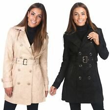 Womens Ladies Belted Tailored Lace Fashion Mac Button Down Trench Coat Jacket