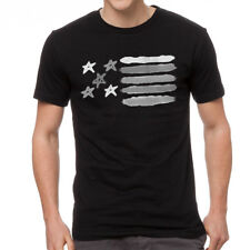 American Flag Brush Patriotic Graphic Design Men's Black T-shirt NEW Sizes S-2XL