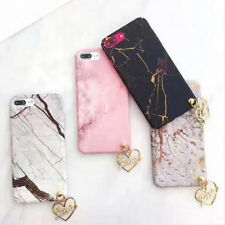 Marble Stone Hard Gold Love Heart Pendant Phone Case Cover For iPhone 6 6s 7