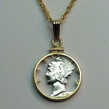 "Old Mercury Dime Silver & 24 k Gold Plated 18 or 24"" (cut) Coin Necklace PB"