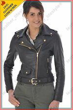 Women's Genuine Lambskin Leather Jacket Black Slimfit Biker Motorcycle Jacket 36